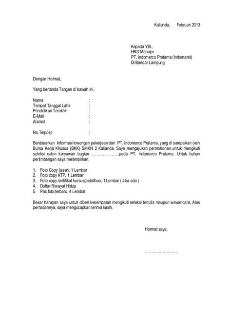 Surat Lamaran Pekerjaan Docx by Contoh Surat Lamaran Kerja Indomaret Dan Alfamart Contoh