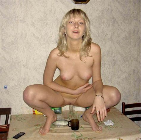 Blond Russian Beauty Getting Herself Drunk Before Getting