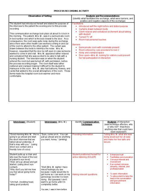 process recording template process recording exle