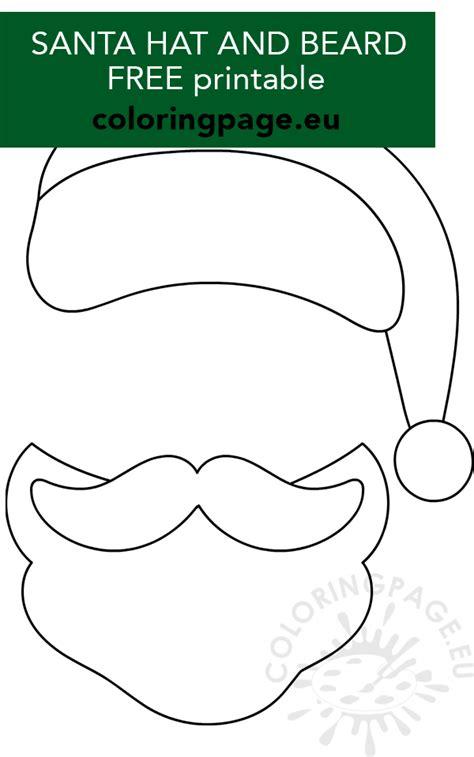 santa hat mustache beard template coloring page
