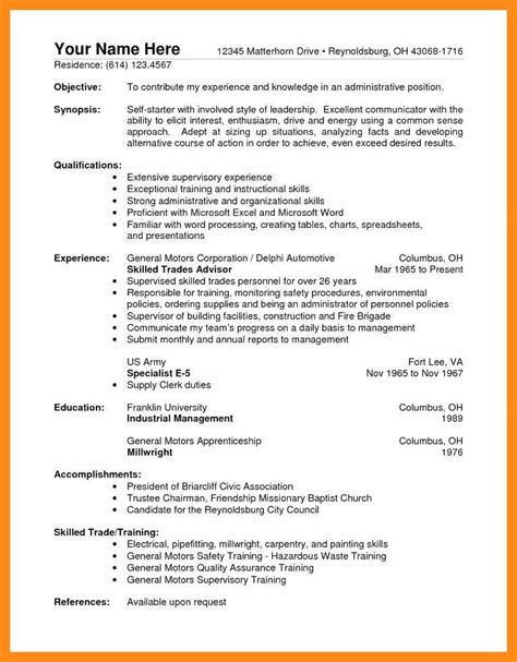 General Resume Exles by 10 11 General Labor Resume No Experience