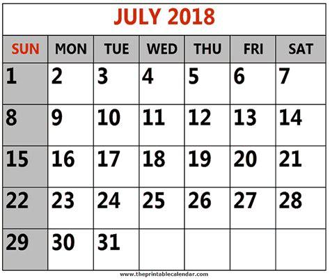 july printable calendars