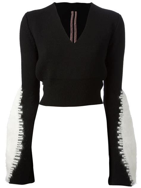 cropped black sweater rick owens cropped sweater in black lyst