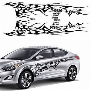 1set blackcar truck decal vinyl flame totem graphics side With vinyl lettering for automobiles