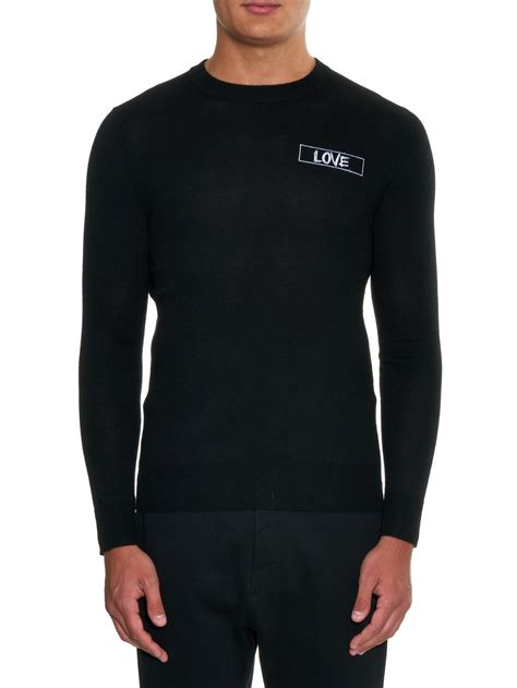 lyst givenchy love embroidered wool knit sweater