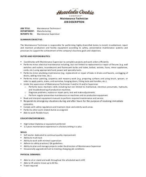 Maintenance Description Duties by Maintenance Description 9 Free Pdf Documents Free Premium Templates