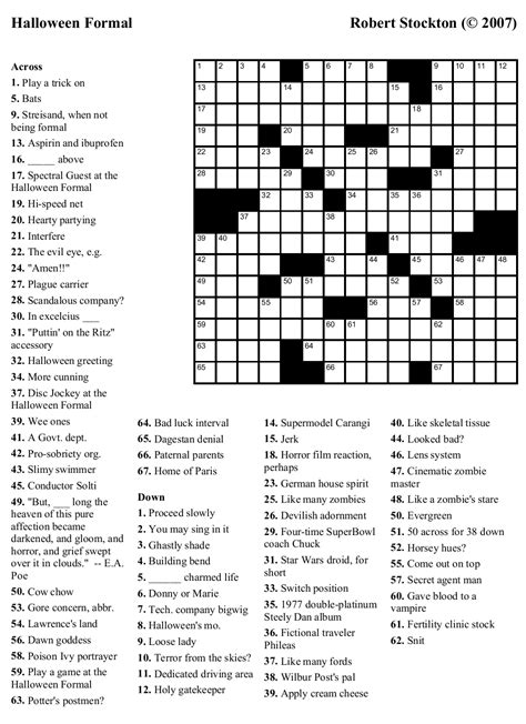printable english crossword puzzles  answers