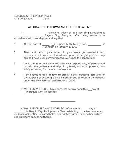 sample affidavit  solo parent