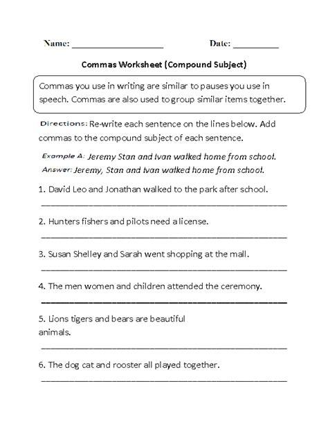 compound subject commas worksheet englishlinx board