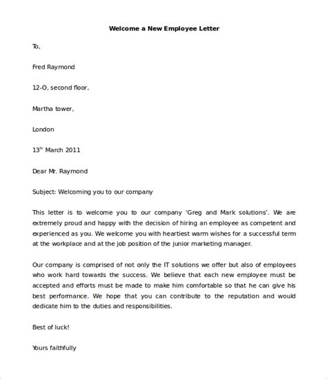 new employee welcome letter 21 hr welcome letter templates doc pdf free 31539