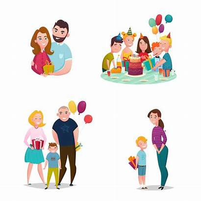 Giving Gift Vector Cartoon Clipart Illustration Mother
