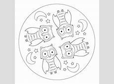 Owl Mandala for preK, kindergarten and elementary school