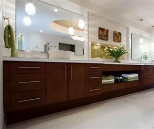 Contemporary Cherry Bathroom Cabinets - Kitchen Craft