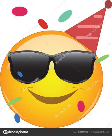 Legal Emoji Vestindo Uma Cabana Festa Óculos Sol Confete
