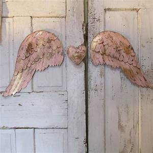 Pink metal angel wings wall decor gold and rhinestone