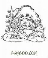 Coloring Cottage Fairy Cartoon Fairytale Thatch Roof Tales Houses Cozy sketch template