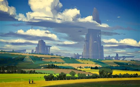 sci fi countryside painting city full hd wallpaper
