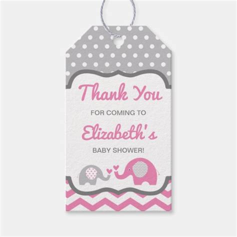 With it, this baby boy invitation looks charming. Elephant Baby Shower Thank You Tag, EDITABLE COLOR Gift ...
