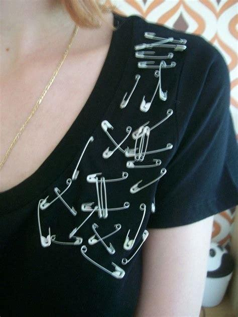 safety pin shirt  embellished top embellishing