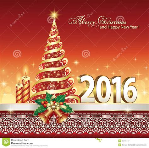 happy new year 2016 with a christmas tree stock vector