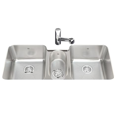 triple stainless steel sink shop kindred 18 gauge triple basin undermount stainless