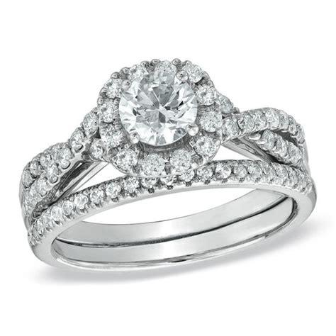 1 1 10 ct t w diamond frame twist bridal in 14k white gold engagement rings wedding