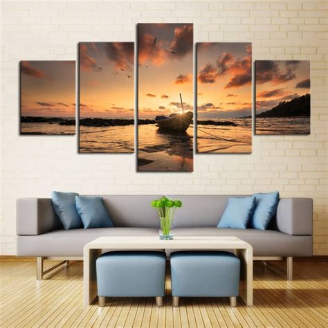 piece sunset seaview boat canvas painting large print