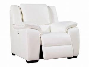Fauteuil Electrique Conforama : fauteuil relaxation lectrique en cuir saturday coloris blanc vente de tous les fauteuils ~ Teatrodelosmanantiales.com Idées de Décoration