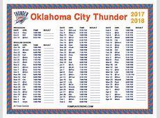 Printable 20172018 Oklahoma City Thunder Schedule
