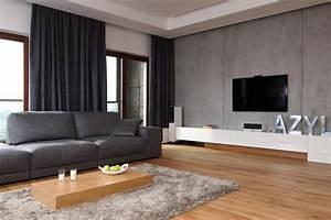 betonowa sciana w salonie salon styl nowoczesny With balkon teppich mit tapete za vrata bauhaus