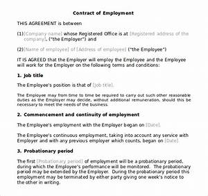 10 microsoft word contract templates free download free for Terms of employment contract template