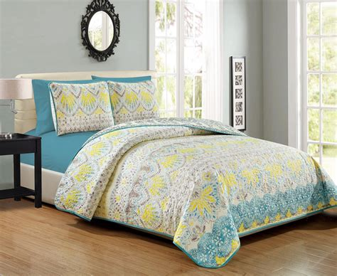 Yellow Quilted Coverlet by 6 Floral Yellow Aqua Taupe Reversible Bedspread
