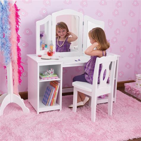 little girls makeup table kidkraft deluxe dressing table chair in white costco
