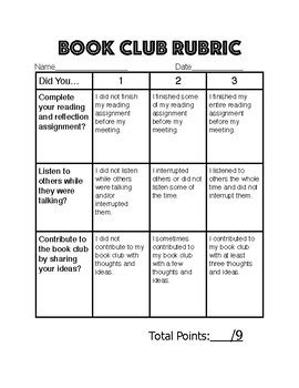 Simple Book Club Rubric by Caroline Baker   Teachers Pay