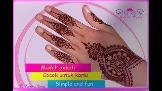 Kamu bisa membuatnya sendiri dirumah. Cara Membikin Henna Yang Gampang - gambar henna tangan simple dan bagus