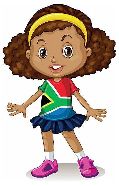 African South Children Illustrations Clip Vector Alone