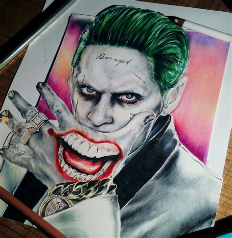 joker drawing pencil sketch colorful realistic art