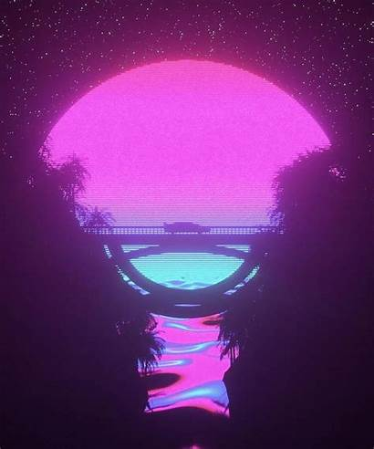 Aesthetic Vaporwave Vapor Retro Night Cyberpunk Pink