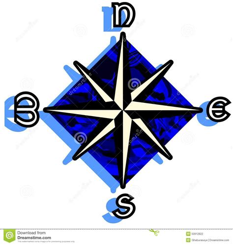 Stylized Compass Rose On Abstract Blue Background Isolated