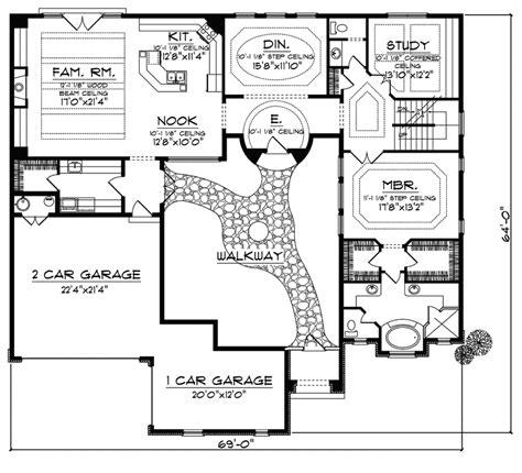cervantes santa fe style home courtyard house plans house layout plans  shaped house plans