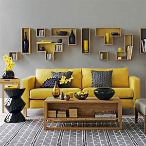 1001 variantes de salon gris et jaune pour vous inspirer With tapis jaune avec canapé assise peu profonde