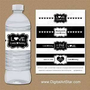 black and white wedding water bottle labels printable bridal With black and white water bottle labels