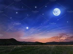 Beautiful night sky with the full moon and stars ~ Nature ...