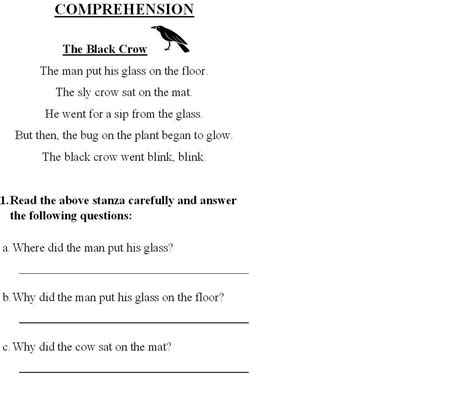 comprehension worksheets for grade 2 www