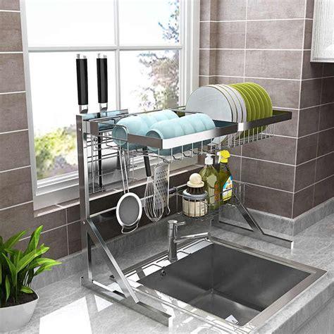 silverblack kitchen sink rack stainless steel sink drain rack drying storage holder  layer