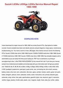 Suzuki Lt230s Lt230ge Lt250s Service Manual R By Wendy