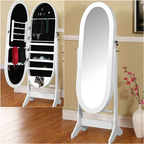 floor l with storage large oval jewellery cabinet with mirror floor standing