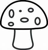 Mushroom Coloring Printable Template Spots Six Features Clip sketch template