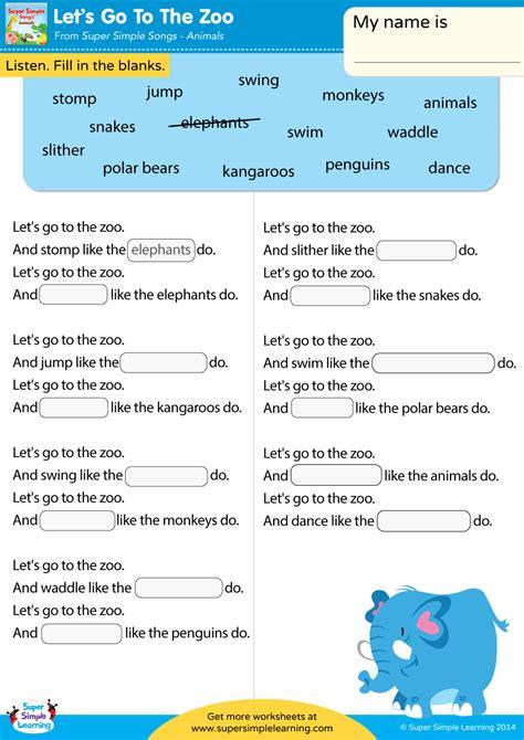 lets    zoo worksheet fill   blanks super