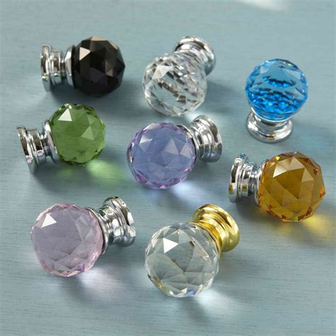 glass faceted cupboard drawer knob cabinet door